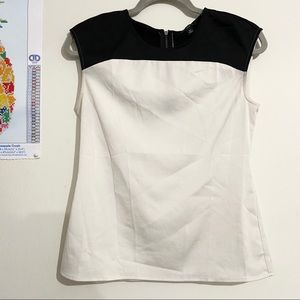 ANN TAYLOR Black and White Cap Sleeve Blouse
